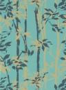 Bambustapete Beechgrove von Sanderson - Teal/ Gold