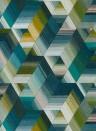 Geometrische Tapete Arccos von Harlequin - Emerald/ Blush
