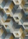 Geometrische Tapete Arccos von Harlequin - Ochre/ Steel