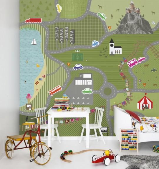 Wandbild home town - Tapete für Kinder