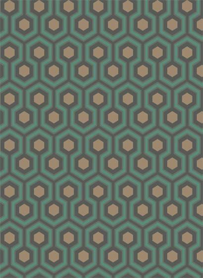 Hicks' Hexagon - Designtapete von Cole & Son - Teal/ Gold