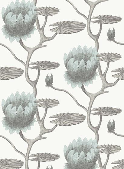 Summer Lily - Designtapete von Cole & Son - Aqua on White
