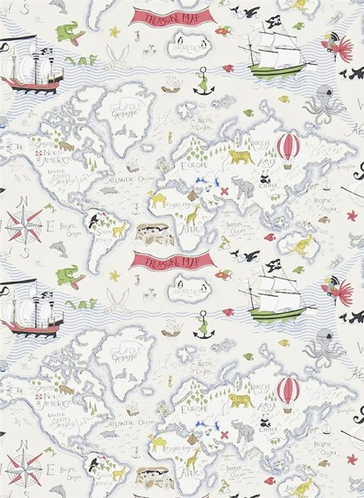 Kindertapete Treasure Map von Sanderson - Weiß/ Bunt