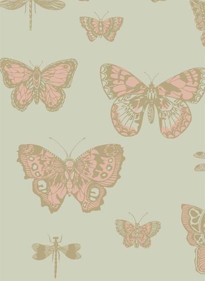 Tapete Butterflies & Dragonflies von Cole & Son - Pink/ Oliv