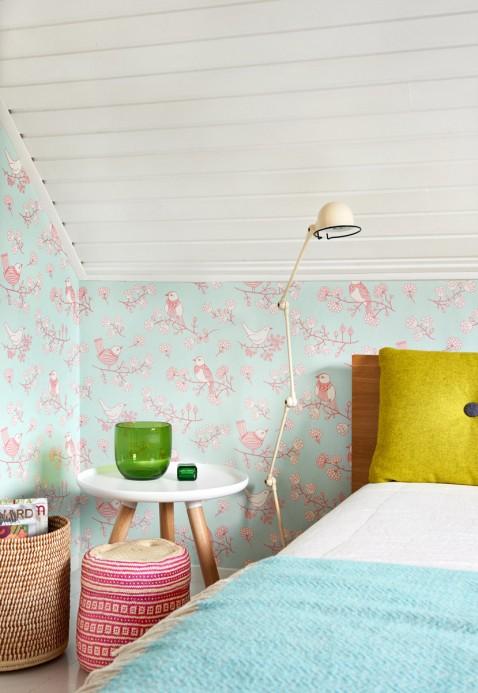 Tapete Sugar Tree von Majvillan - Soft Turquoise/ Pink