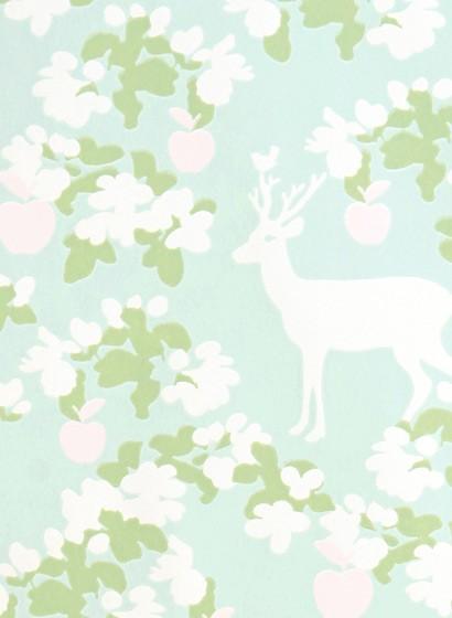 Tapete Apple Garden von Majvillan - Soft Turquoise/ Green