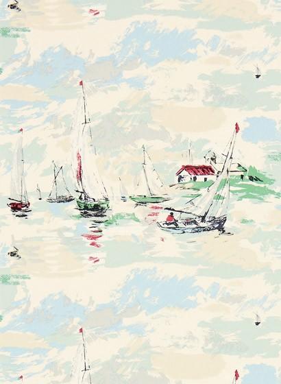 Vintagetapete Sail Away von Sanderson - Sea Green