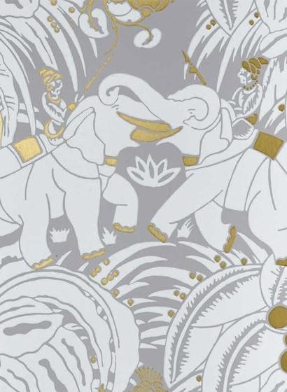 Tapete Dar es Salam von Nobilis - Taupe/ Weiß/ Gold
