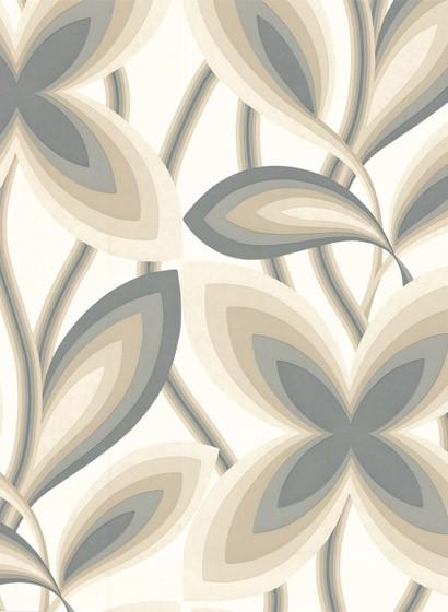 60er Jahre Tapete Starflower von Little Greene - Platinum
