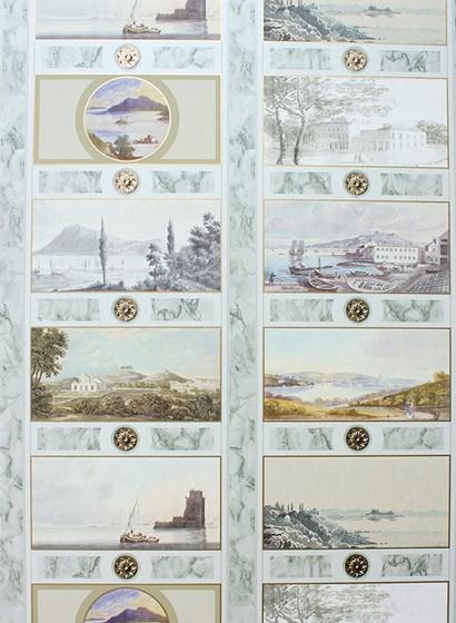 Osborne & Little Tapete Keightley's Folio - Multi/ Grey