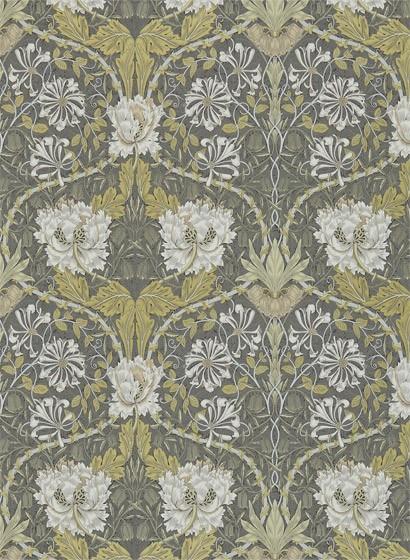 Tapete Honeysuckle & Tulip von Morris & Co. - Charcoal/ Gold