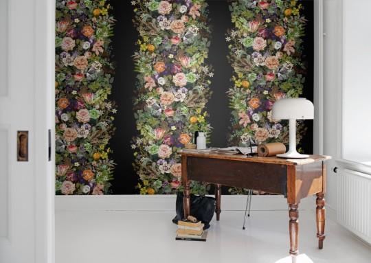 Wandbild Flowerbed von Rebel Walls - Black