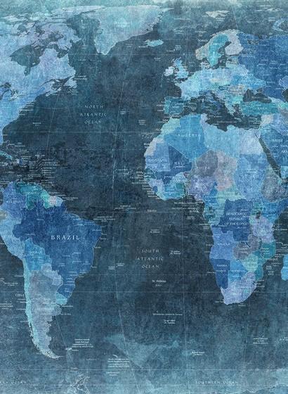Wandbild World Map von Rebel Walls - Blue