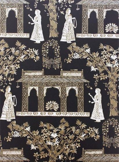Osborne & Little Tapete Pavilion Garden - Chocolate/ Gold