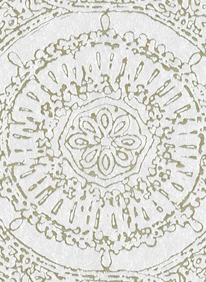Mosaik Tapete Rondo von Arte - Weiß/ Gold