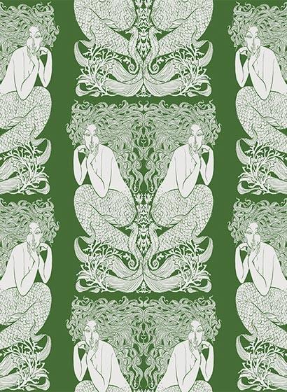 Tapete Mermaid von Hookedonwalls - Grün/ Silber