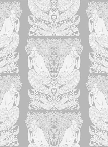 Tapete Mermaid von Hookedonwalls - Silber/ Weiß
