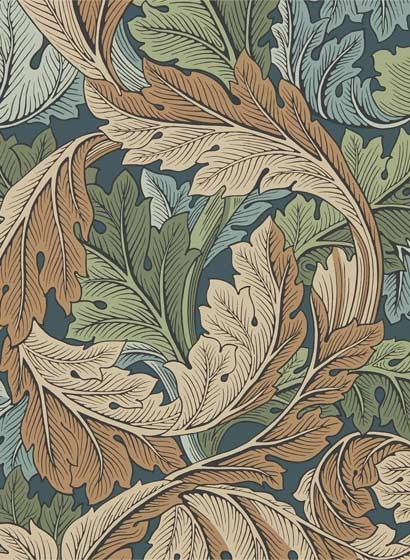 Tapete Acanthus von Morris & Co. - Slate Blue/ Thyme