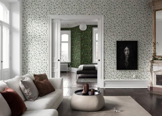 Florale Tapete Hassel von Sandberg - Green/ White