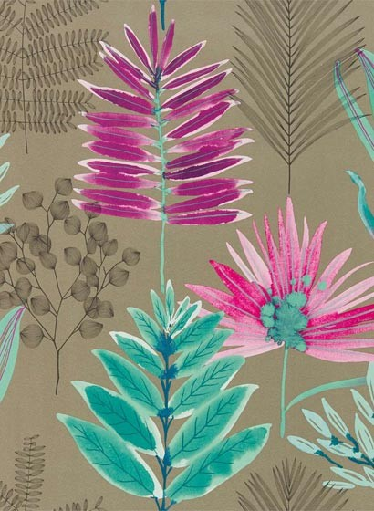 Blätter Tapete Yasuni von Harlequin - Lagoon/ Cerise