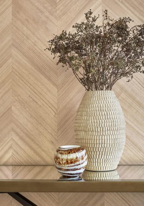 Holzfurnier Tapete Inyo Wood von Thibaut - Natural