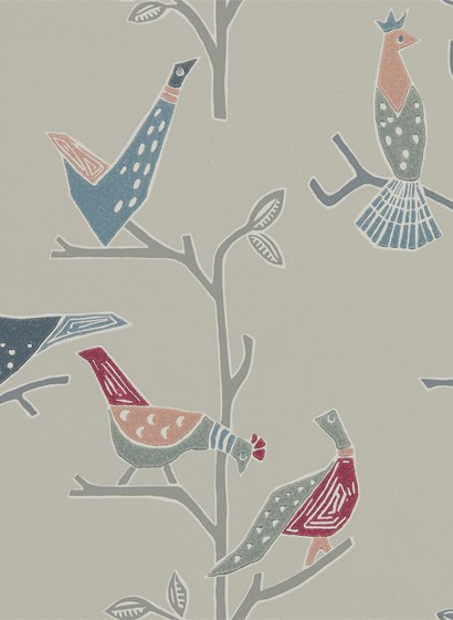 Vogel Tapete Passaro von Scion - Rose/ Steel