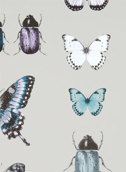 Tapete Papilio von Clarke & Clarke - Teal/ Gilver