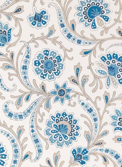 Tapete Bavilles von Nina Campbell - Blue/ Taupe