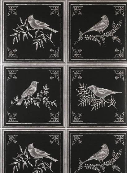 Tapete Fortoiseauvon Nina Campbell - Black/ Silver
