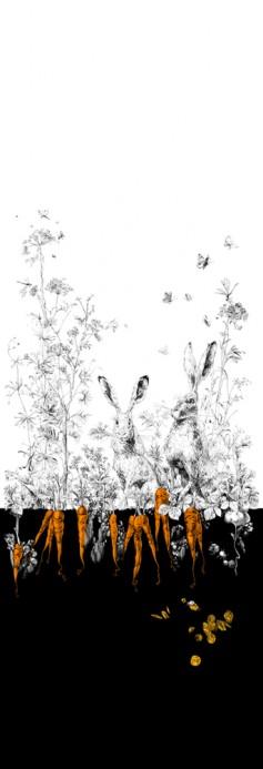 Edmond Petit Tapete Lièvres/Fenouil/Tournesol - Noir Orange