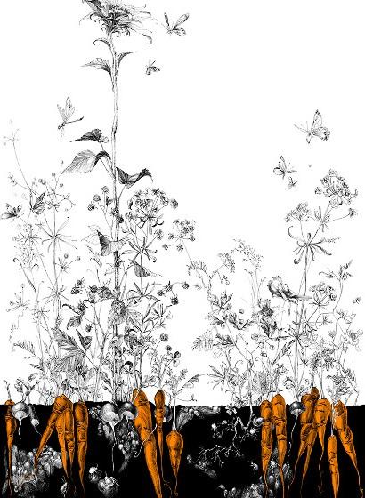 Edmond Petit Tapete Tournesol gauche - Noir Orange