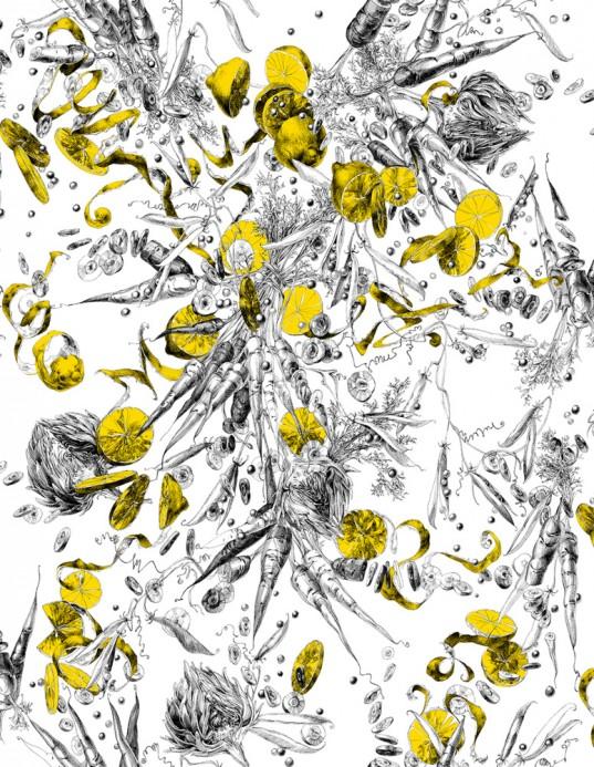 Gemüse-/Obst-Tapete Feu d'Artifice Lègumes - Citron