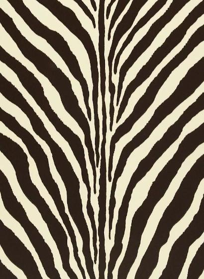 Flock Tapete Bartlett Zebra von Ralph Lauren - Chocolate