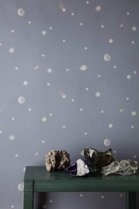 Kinder Tapete Moon von Ferm Living - Dark Blue