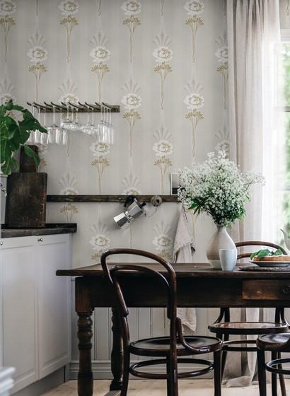 Florale Streifentapete Margareta von Sandberg